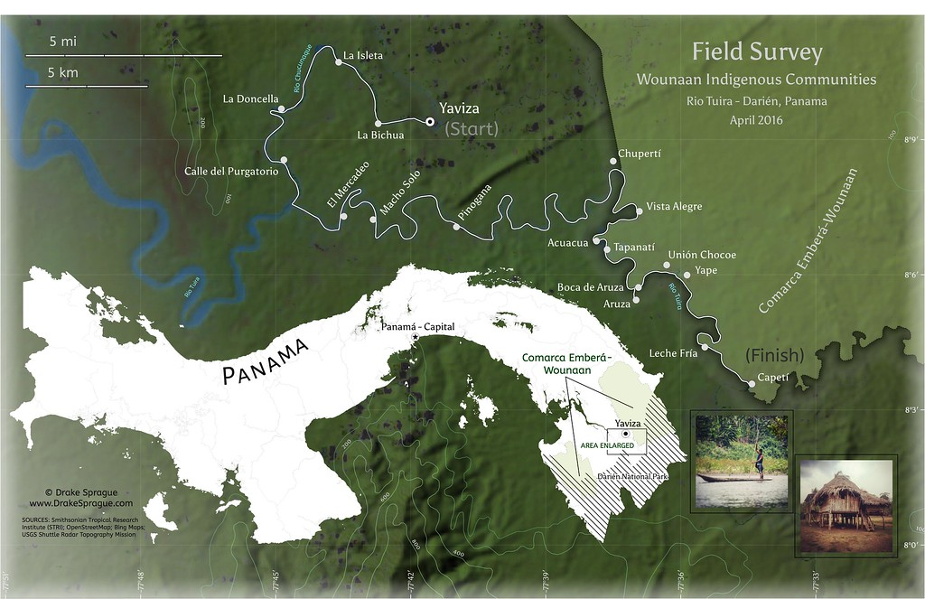 Map of Field Survey Route in Darien, Panama   2016