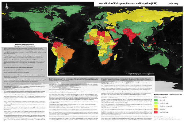 2014 World Map of Kidnap for Ransom and Extortion (KRE) Occurences