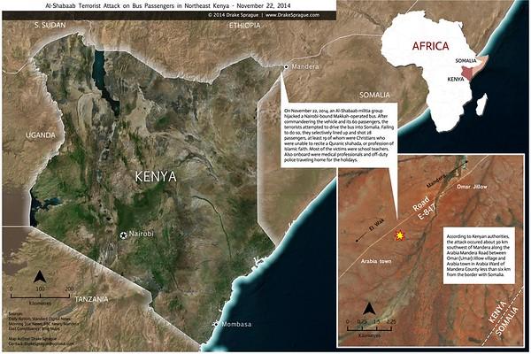 "Map | ""Al Shabaab Terrorist Attack, 2014"" by Drake Sprague"