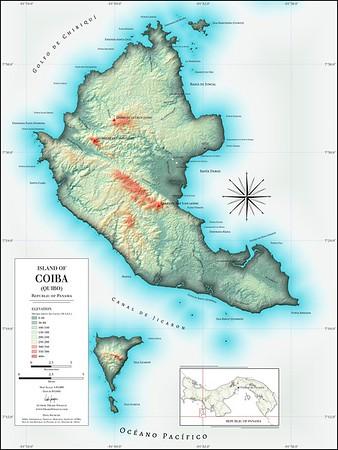 """Map   """"Island of Coiba (Quibo)"""" by Drake Sprague"""
