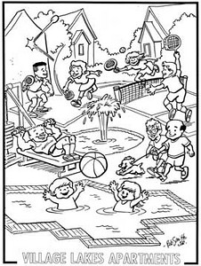 Coloring Page for Apartment Complex.