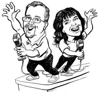 Advertising Art for K-Country 93.7 Ocala-Gainesville WOGK-FM Mr. Bob Morning Show: Mr. Bob and Kathy.