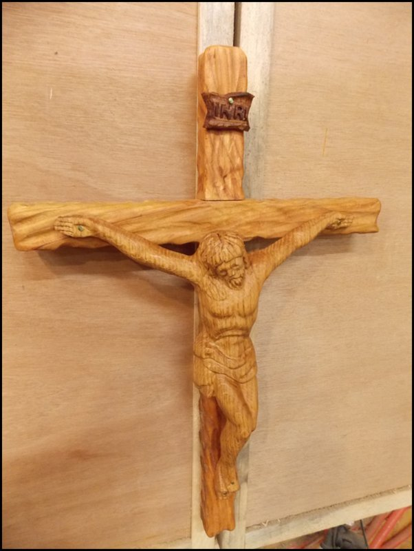 Red Oak and Cherry Crucifix
