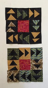 Free style triangles. Bring an equal amount of light and dark scraps We will cut to size at the retreat.