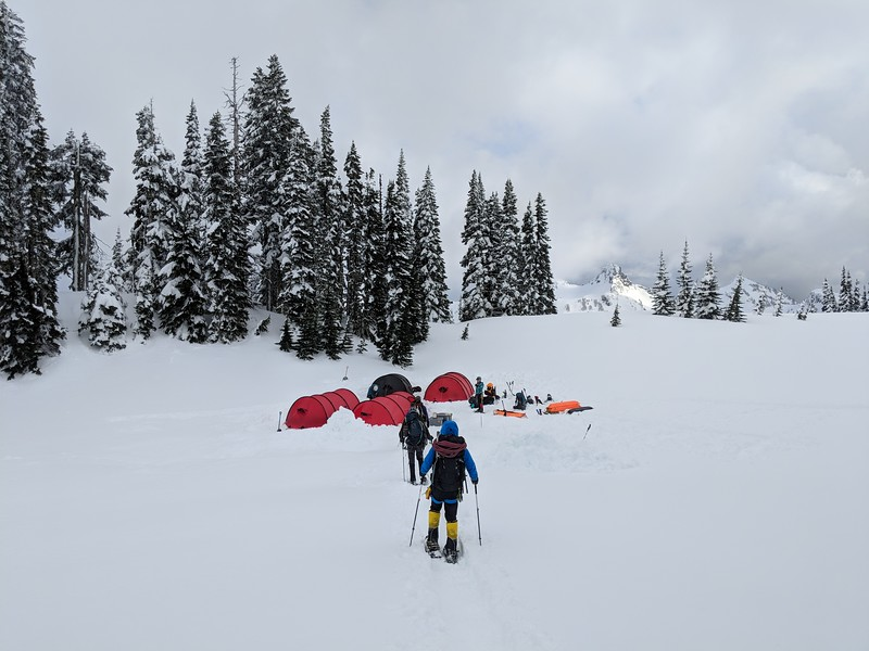 Following fixed line ascension training our Denali prep team heads back to camp.<br /> <br /> Winter camping is an essential component of any high altitude expedition.