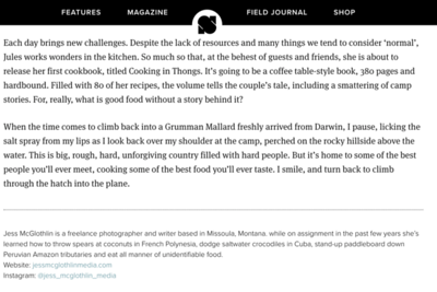 Feature about Kimberley Coastal Camp for the U.K.'s Sidetracked Magazine.  January 2020.  https://www.sidetracked.com/fieldjournal/cooking-in-thongs-sea-to-table-at-kimberley-coastal-camp/