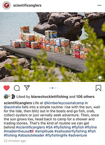 Social media stories for Scientific Anglers from Australia exploratory fly fishing assignment at Australia's Kimberley Coastal Camp.