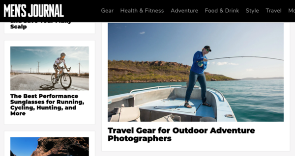 Best Travel Gear for Outdoor Adventure Photographers feature for Men's Journal.   December 2020.  https://www.mensjournal.com/adventure/the-packlist-travel-gear-for-outdoor-adventure-photographers/