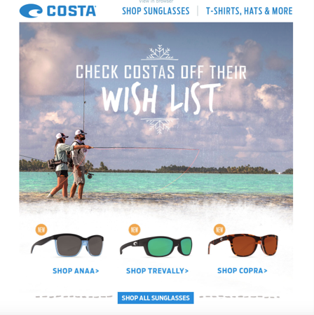 Costa del Mar email campaign.  November 2015.