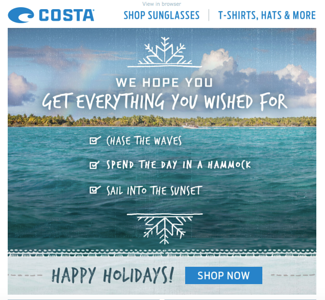 Costa del Mar email.  December 2015.
