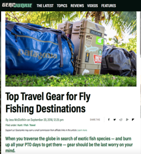 Jess McGlothlin Media talks about her favorite travel gear for fly fishing travel on Gear Junkie Hunt Fish.  https://gearjunkie.com/top-travel-gear-for-fly-fishing-destinations