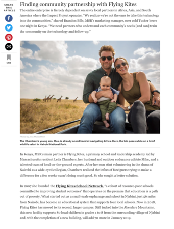 Reportage from Kenya on voluntourism, MSR's Community Chlorinator and more for AFAR.   October 2018.  https://www.afar.com/magazine/how-one-company-is-changing-the-voluntourism-game