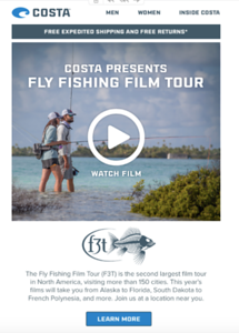 Marketing images for Costa del Mar, used in email and Cabela's website.  January 2019.
