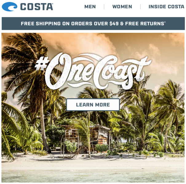 Email campaign for Costa's #OneCoast using images from 2016 campaign shoot in French Polynesia.<br /> <br /> September 2017.