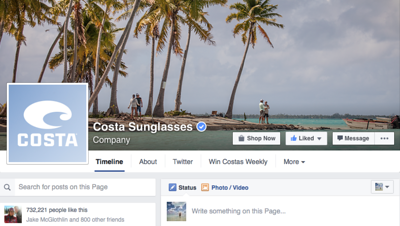 Costa del Mar Facebook page cover shot.   April 2016.