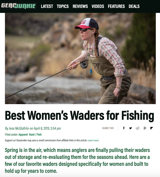 Feature article and images on Gear Junkie, April 2019.  https://gearjunkie.com/best-fishing-waders-for-women