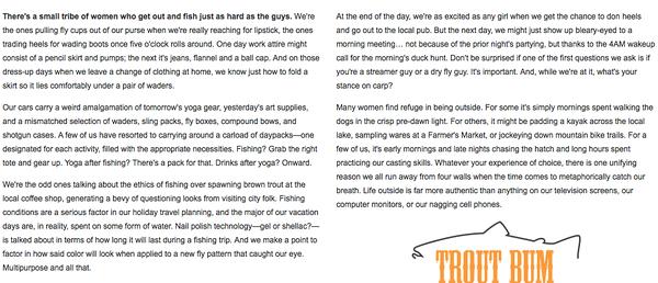Orvis Trout Bum women's manifesto. 2015.