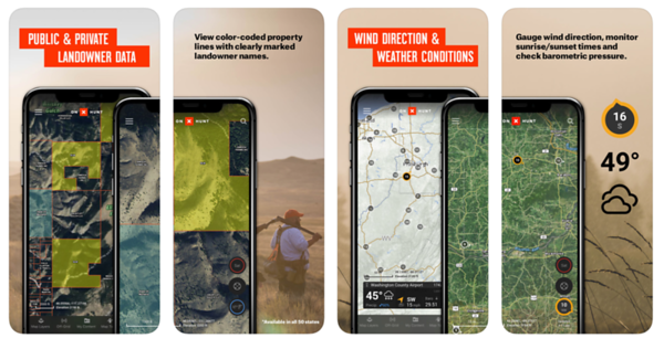 App Store creative for onX hunt—text and photography.   February 2019.