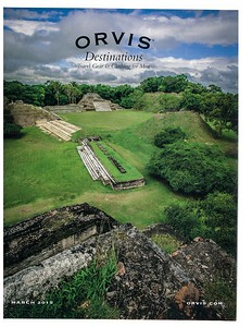 Cover of Orvis Destinations catalog. Image of Altun Ha ruins, Belize.  March 2015.