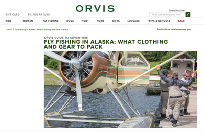 Alaska imagery created while on assignment at Bristol Bay Lodge, Alaska.   Work created in-house with The Orvis Company, Manchester, Vermont.