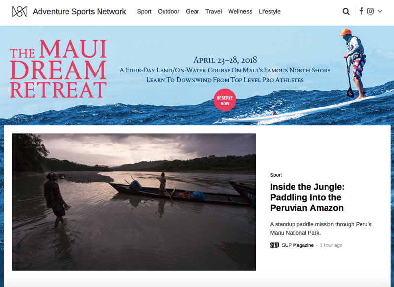 "The Adventure Sports Network.<br /> <br /> March 2018.<br /> <br /> <a href=""https://www.adventuresportsnetwork.com/sport/sup-trip-through-peruvian-amazon/"">https://www.adventuresportsnetwork.com/sport/sup-trip-through-peruvian-amazon/</a>"