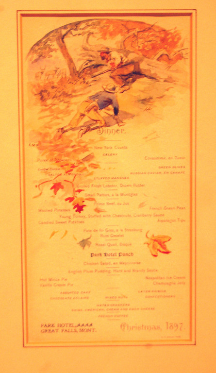 Christmas 1897 menu Russell made for the Park Hotel