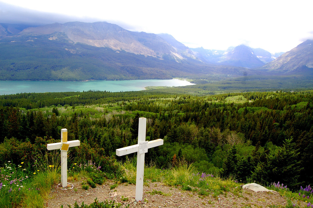 Off the beaten path,not visible from the road, these crosses marked the burial spots for some Blackfoot Indians.
