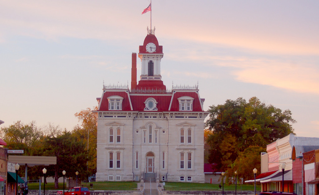 Morning light on  historic Cottonwood Falls Courthouse.<br /> <br /> Cottonwood Falls is my favorite town in Kansas. Its brick lined main street and courthouse at the end of the street have been admired and photographed by people from many places