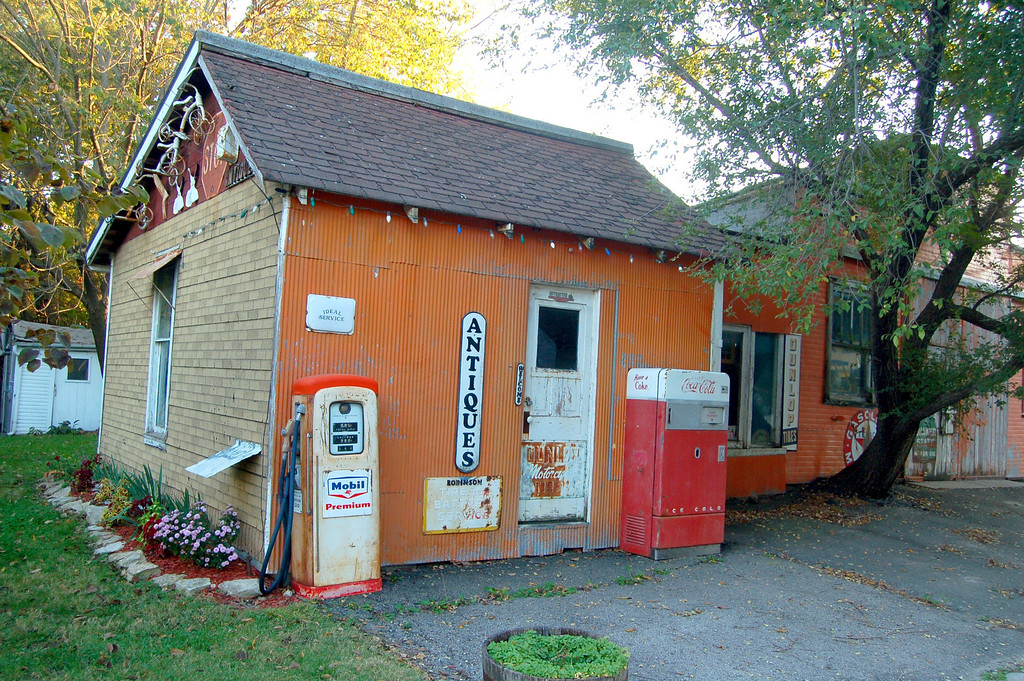 Old gas station converted to antique store.