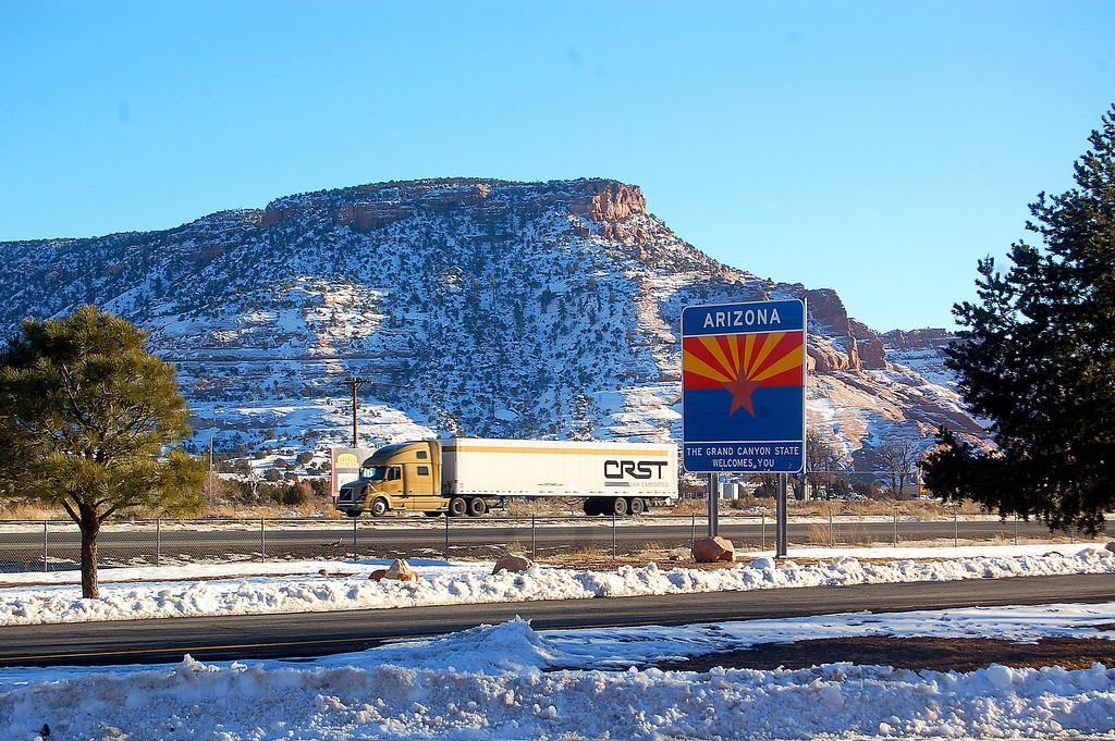 Arizona briefly wecomed us with snow.