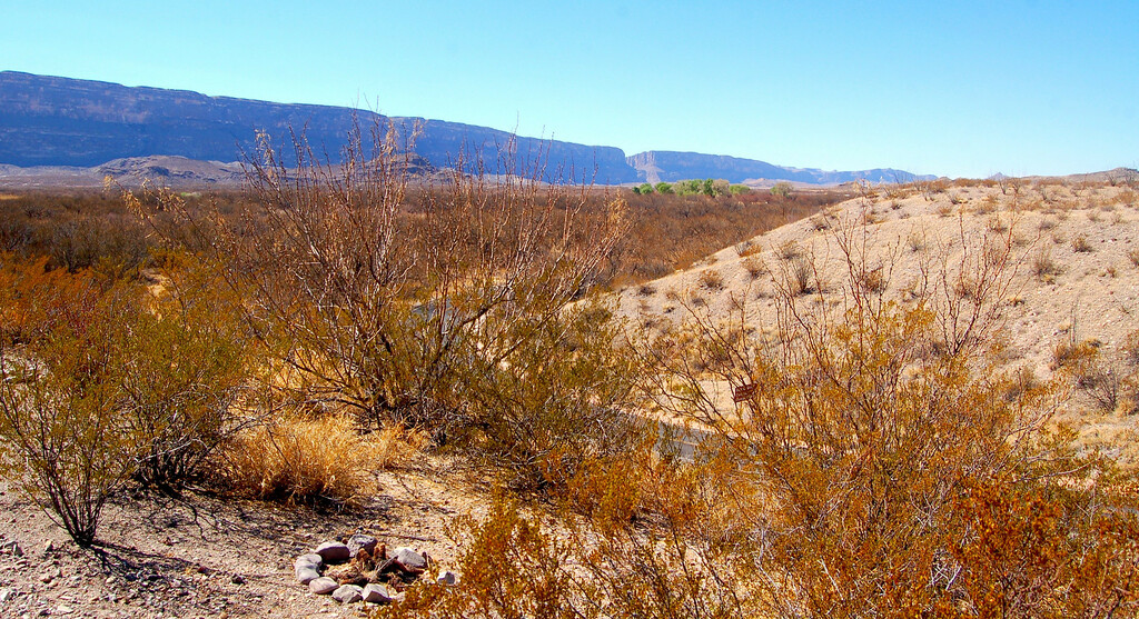Santa Elena Canyon (cut in wall) visible in distance from Castolon Overlook