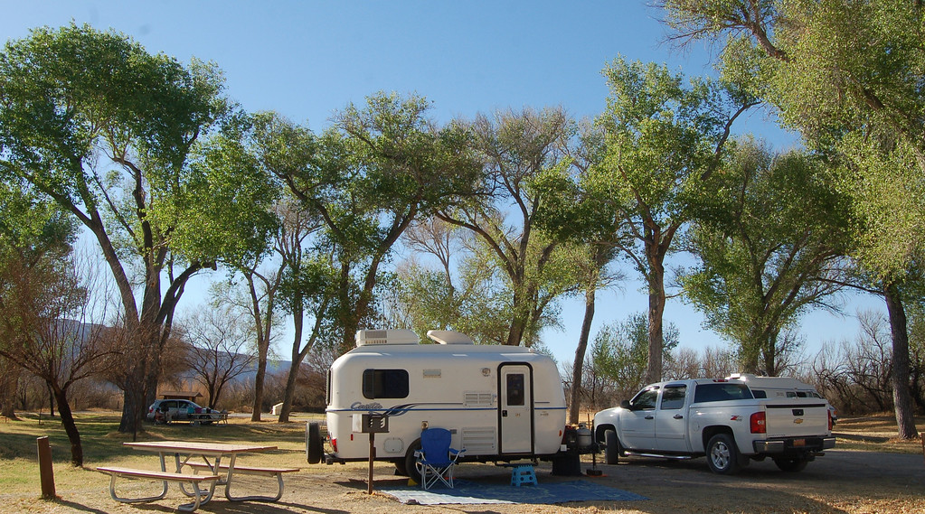 Cottonwood Campground near Castolon is an oasis in the desert. Water pumped daily from the nearby Rio Grande River irrigates the campground. Care must be taken in choosing a campsite.