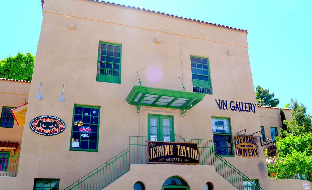Winery and Tattoo parlor in same building. Probably not a good combination.