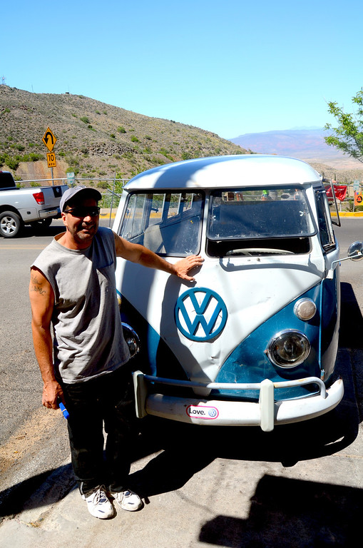 I stop and talk to the owner of this 67 VW bus. I had a camper model of the same year my boys enjoyed when they were little.