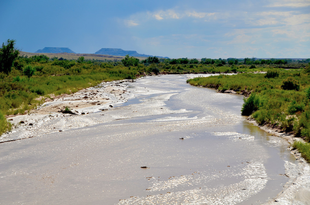 The Puerco River transects the park. Rainfall the night before brought new life to the river.