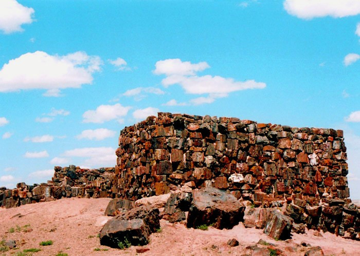 """The Agate House is a partial reconstruction of an Indian pueblo built around 1100 A.D. Its walls were built of petrified wood and sealed with mud mortar. sitting atop a knoll overlooking the vast expanse of desert, the eight room pueblo is thought to have been occupied for a brief time due to the small amount of cultural debris found in the area. Reconstruction of its rooms occurred after archaeological excavation in 1934""    Photo from other source.."