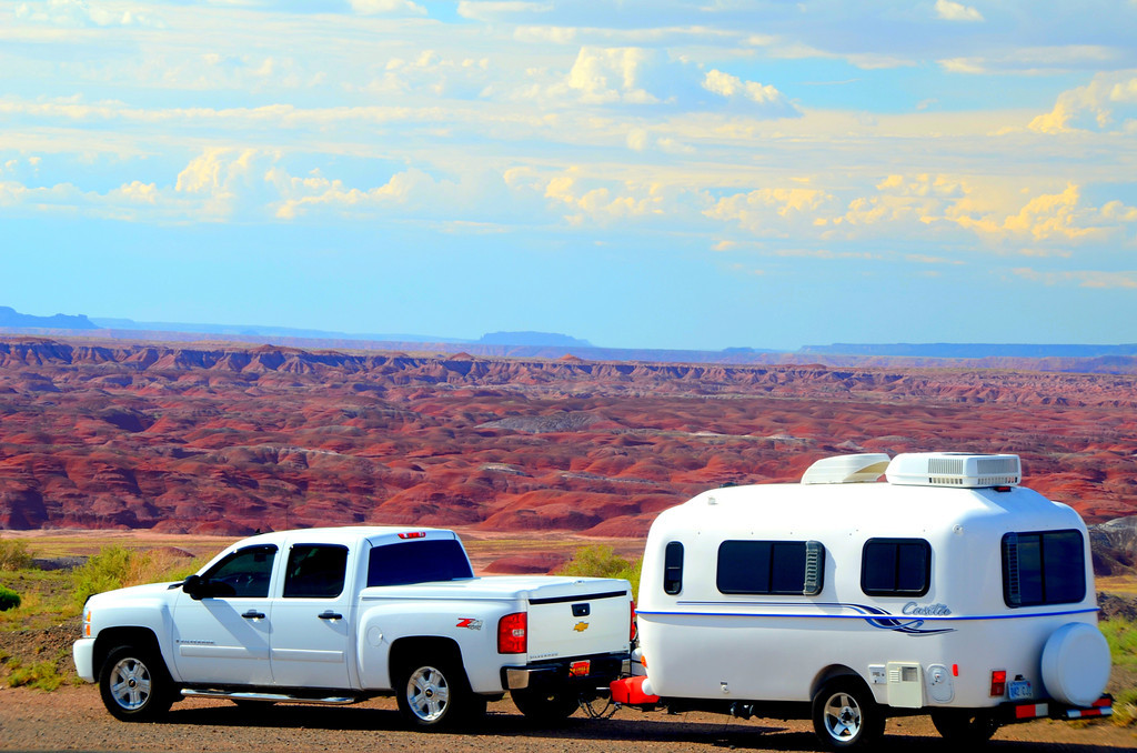 The Painted Desert is a stunning backdrop for the Casita.