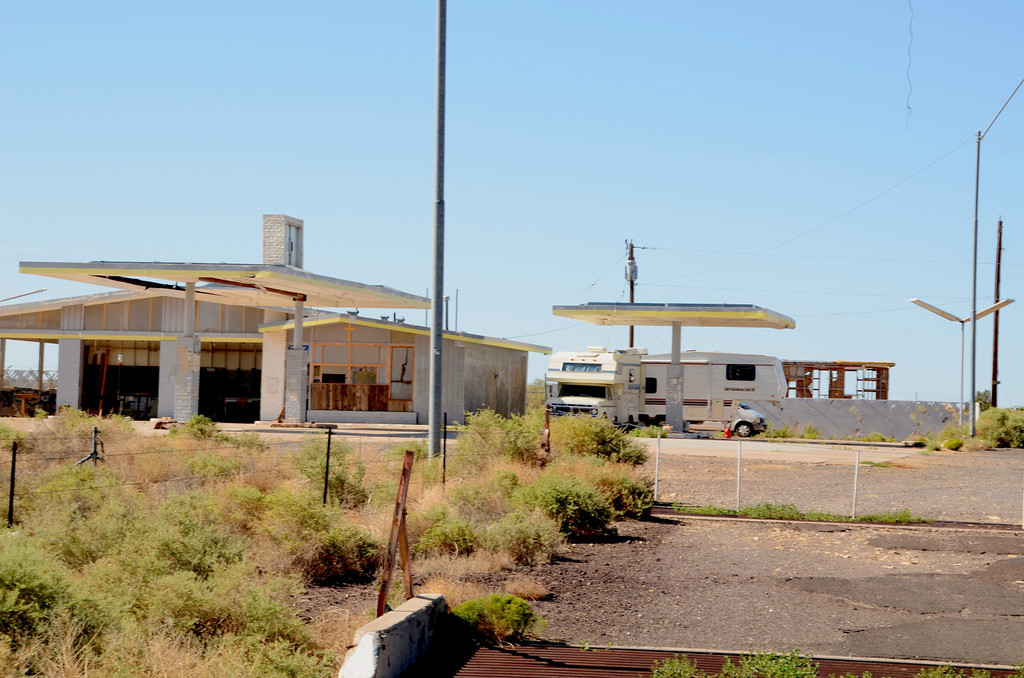 The once abandoned gas station is showing signs of being revived.