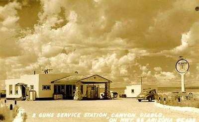 Old Texaco Gas Station, note stone columns.
