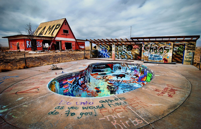 """Graffiti at the """"Kamp"""" area. I find from a skaters blog that this had been a hangout for them. Photo from other source."""