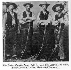 "In 1888, while serving as Yavapai County judge, Bucky O,Neil was elected the sheriff, running on the Republican Ticket.<br /> <br /> The most famous incident in O'Neill's lawman career happened on March 20, 1889. 4 masked men robbed the Atlantic and Pacific passenger train, in Diablo Canyon. A four man posse, made up of Bucky O'Neill, Jim Black, Carl Holton, and Ed St. Clair, was soon formed and they took off after robbers. On March 21, O'Neill and his posse caught up with the robbers. After exchanging rifle shots, the posse captured the 4 men. During the fight, no men were injured, but O'Neill's horse was killed.""<br /> <br /> O'Neil later served with Teddy Roosevelt and the Rough Riders and was killed in action.<br /> <br />  ""Teddy Roosevelt wrote about the death of O'Neill: ""The most serious loss that I and the regiment could have suffered befell just before we charged. Bucky O'Neill was strolling up and down in front of his men, smoking his cigarette, for he was inveterately addicted to the habit. He had a theory that an officer ought never to take cover - a theory which was, of course, wrong, though in a volunteer organization the officers should certainly expose themselves very fully, simply for the effect on the men; our regimental toast on the transport running, "" The officers; may the war last until each is killed, wounded, or promoted."" As O'Neill moved to and fro, his men begged him to lie down, and one of the sergeants said, "" Captain, a bullet is sure to hit you."" O'Neill took his cigarette out of his mouth, and blowing out a cloud of smoke laughed and said, "" Sergeant, the Spanish bullet isn't made that will kill me."" A little later he discussed for a moment with one of the regular officers the direction from which the Spanish fire was coming. As he turned on his heel a bullet struck him in the mouth and came out at the back of his head; so that even before he fell his wild and gallant soul had gone out into the darkness."""