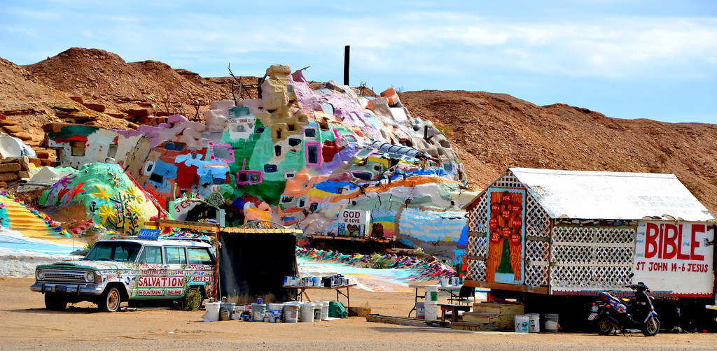 """Thousands of visitors come to Salvation Mountain every year.<br /> <br />  In 2002, Senator Barbara Boxer entered the mountain into the congressional record as a national treasure. <br /> <br /> PBS and the BBC have both made documentaries about Knight and his work. Even film director/actor Sean Penn featured Knight in his 2007 film """"Into the Wild""""<br /> <br /> See Leonard playing himself in the movie, """"Into The Wild"""". He insisted that his part be unscripted.<br /> <br />  <a href=""""http://www.youtube.com/watch?v=g4bW2YKNQkY"""">http://www.youtube.com/watch?v=g4bW2YKNQkY</a>"""