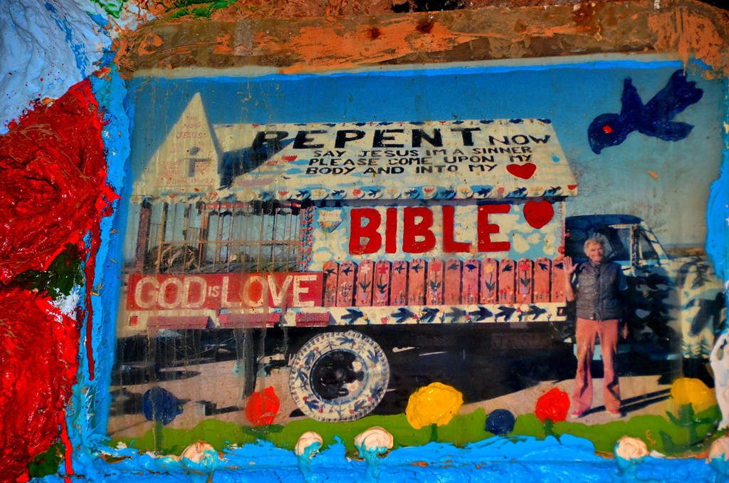 """Photo of Leonard found in the """"museum"""" section of Salvation Mountain."""