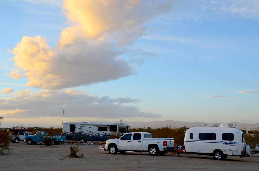 """Loaners on Wheels"" location where Travlin Bob and I locate at Slab City. The area is clean, the residents were friendly and there was plenty of space available."