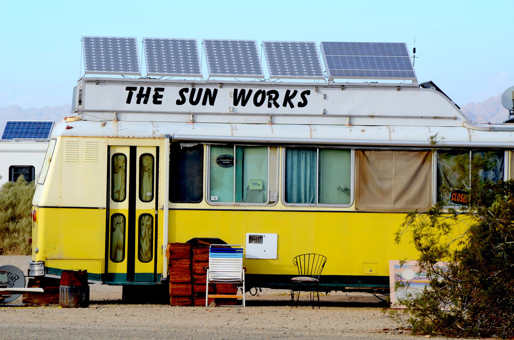 "In business at this location since 1986, The Sun Works run by Mike is a well know solar system provider. The day we stopped by he was busy adding a solar system to a sun blocker RV for a couple from Canada.<br /> <br /> For Mike's view about living in Slab City check out the following link:<br /> <br />  <a href=""http://www.thesunworks.com/id55.htm"">http://www.thesunworks.com/id55.htm</a>"