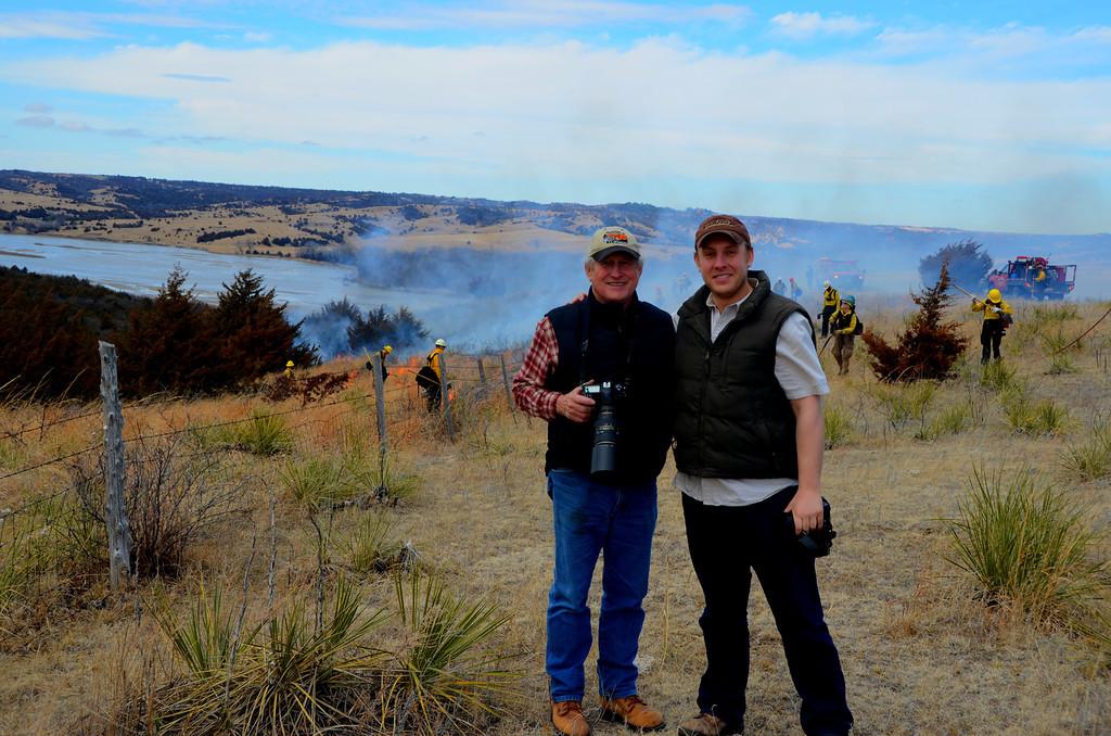 Sanctuary Manager and Kansas Audubon Director, Ron Klataske and son, Ryan oversee the burn activity.