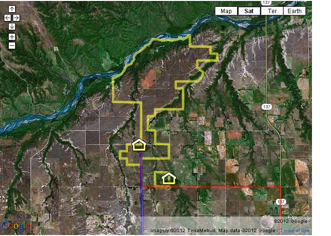 Satellite view of the 5,000 acre Hutton Niobrara Ranch Sanctuary outlined in yellow reflecting frontage to the Niobrara National Scenic River and guesthouses on the property.
