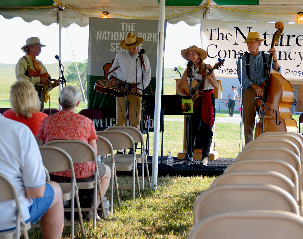 """The Tallgrass Prairie Express performs at the ceremony. The group's songs relate much to the history and culture of the Flint Hills. Their performance was an excellent compliment to the opening ceremonies.<br /> <a href=""""http://www.cdbaby.com/cd/tesb/cd/tesb"""">http://www.cdbaby.com/cd/tesb/cd/tesb</a>"""