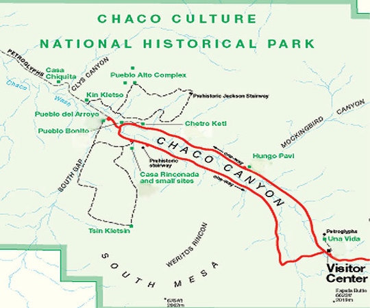 A 9-mile paved loop road accesses five major Chacoan sites, including Pueblo Bonito. Short self-guided trails are marked at each site. <br /> <br /> Four backcountry hiking trails access more remote sites.