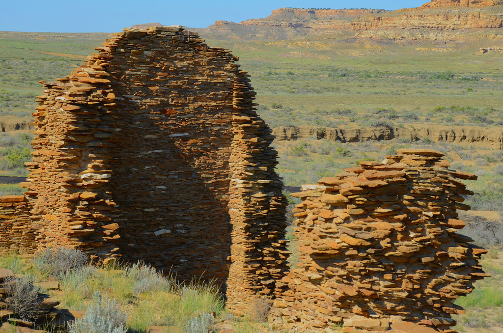 """The Chacoan civilization planned and erected monumental and sophisticated structures using quarried rocks, massive blocks, and harvested timbers from distant mountains. They were an accomplished people who built dams, canals, and elaborate irrigation ."""